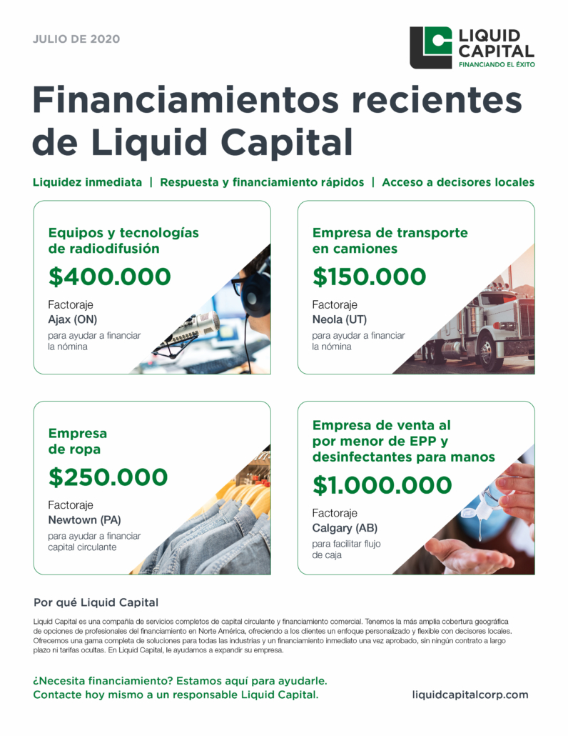 Financiamientos Recientes – Julio 2020 - Liquid Capital